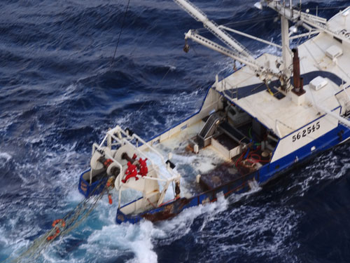 F/V Golden Nugget stern awash  (credit: U.S. Coast Guard)
