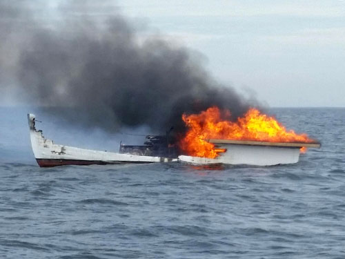 Lobster Boat Fire (credit: U.S. Coast Guard)