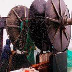 commercial fishing trawler net haulback