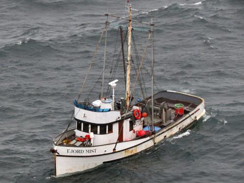 F/V Fjord Mist sinking (credit U.S. Coast Guard)