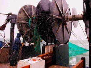 trawl net hauling